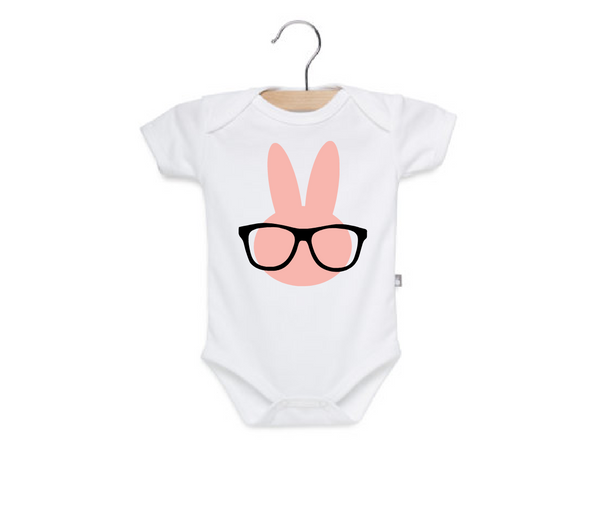 Baby girl easter onesie, pink bunny with glasses.