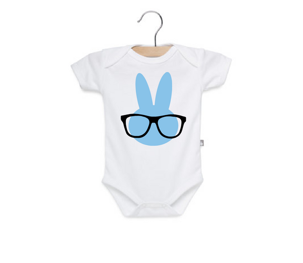 baby boy easter onesie, blue bunny with glasses