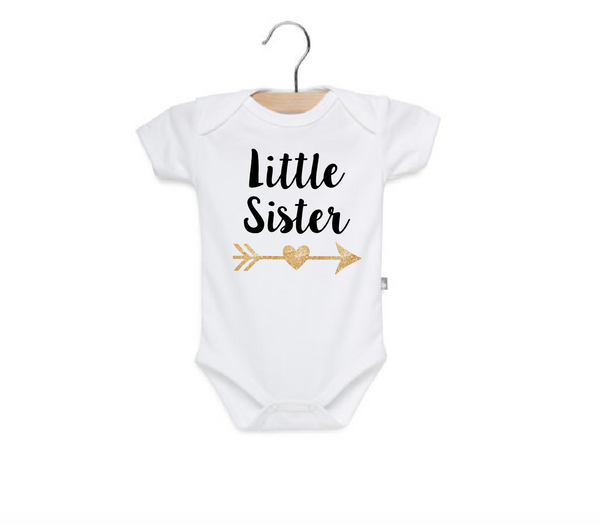 Little sister onesie with glitter
