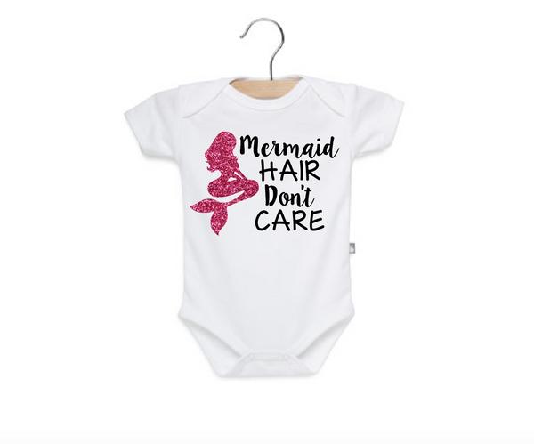 Mermaid white baby onesie with pink glitter mermaid, mermaid hair don't care