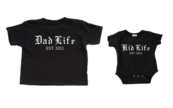 Dad Life Shirt Kid Life Shirt Set with Custom Year. Father's Day Gift. Matching Father and Son Shirts