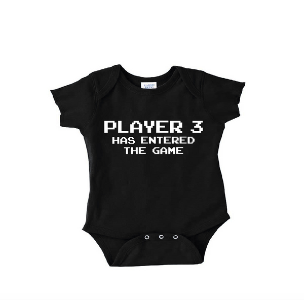 Video game baby clothes, black onesie or toddler shirt, player 3 has entered the game
