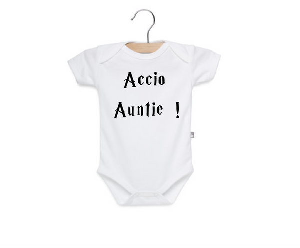 White cotton onesie with accio auntie Harry potter.