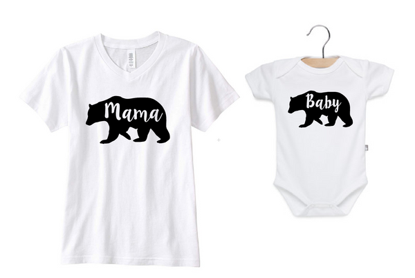 Mama bear baby bear matching set. Mommy and me matching