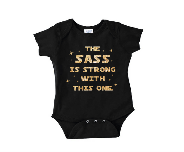 Black and gold glitter onesie the sass is strong with this one