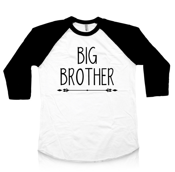 Black and white baseball raglan with big brother. Big brother shirt.