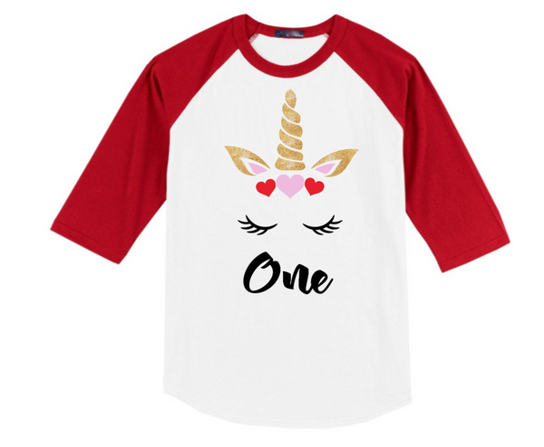Unicorn First Birthday Raglan