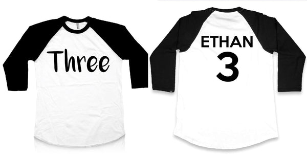 Third Birthday Shirt with Personalized Name