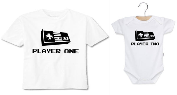 Player one player two daddy and baby matching shirt. Onesie or toddler t shirt