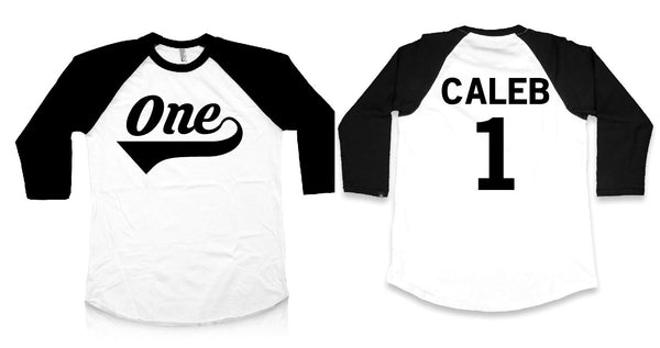 First birthday shirt, baseball t shirt with one and personalized name and number 1 on the back