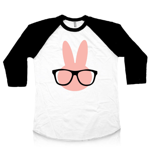 Baby girl easter outfit, pink easter shirt, hipster bunny shirt.