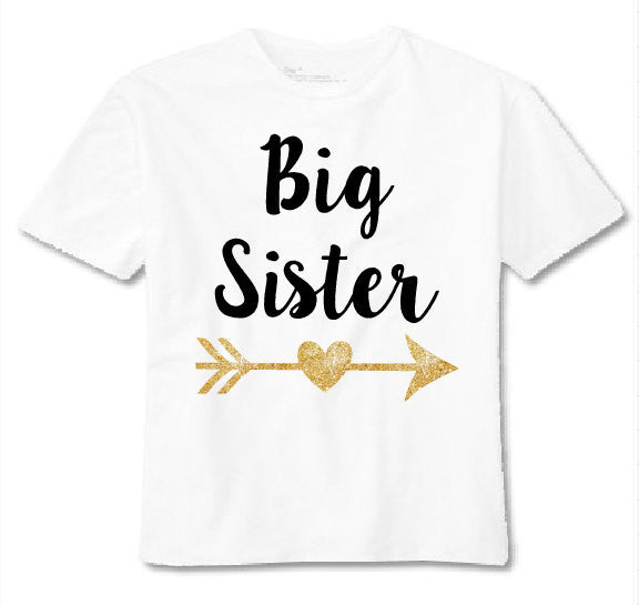 White t shirt big sister with gold glitter. Big sister shirt.