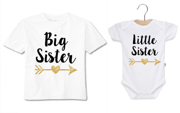 Big sister little sister shirts, matching shirts, white onesie and shirt with black and gold