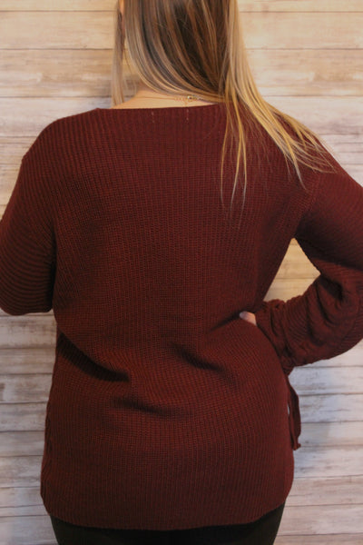 Cozy by the Fireplace Wine Sweater