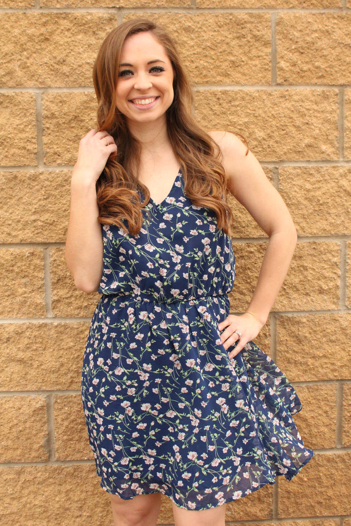 Light navy floral print dress with an elastic waist.