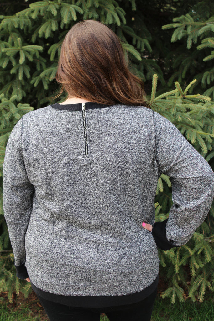 Charcoal Gray Two-Tone Curvy Sweater