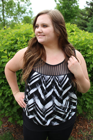 Black and White Criss-Cross Curvy Top