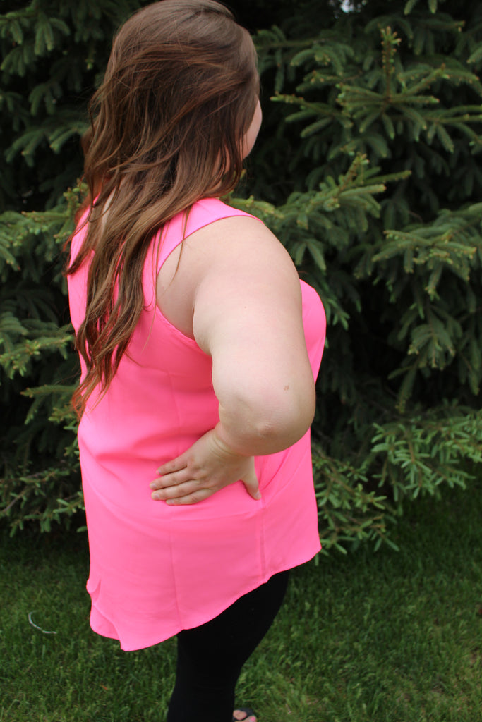 Light and bright pink plus size tank top.