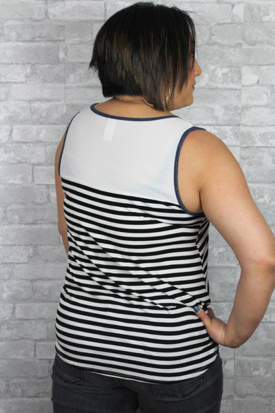 White and navy plus size tank top.