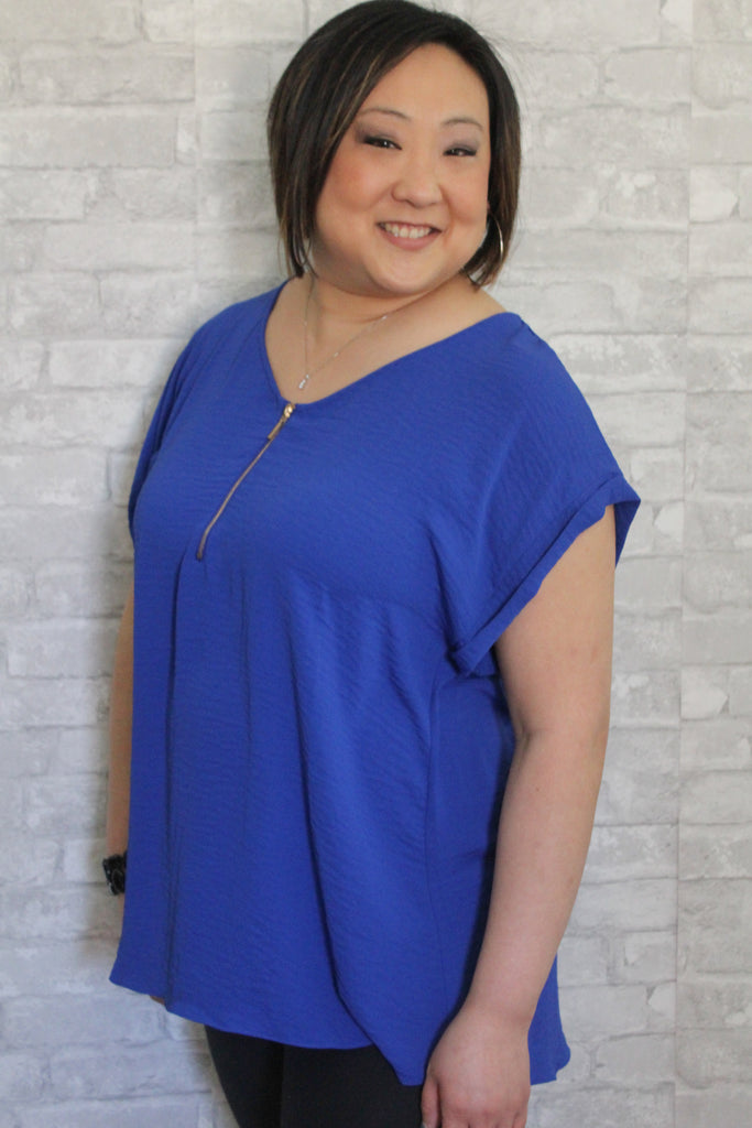 Blue 1/4 Zip Curvy Top