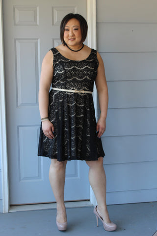 Black and Nude Curvy Lace Dress