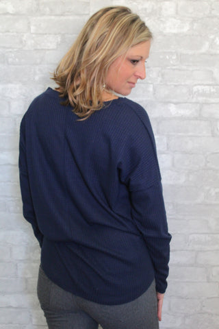 Knot Your Average Navy V-Neck Top