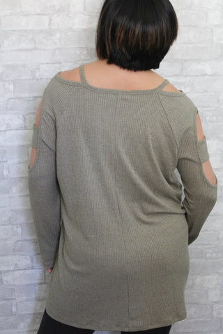 Olive Sleeve Cut Out Curvy Sweater