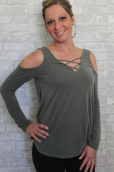 Green olive cold shoulder long sleeved top.