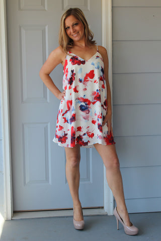 Red and blue floral print dress.