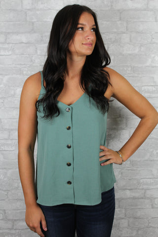 Balsam tank top with buttons down the middle front of the shirt.
