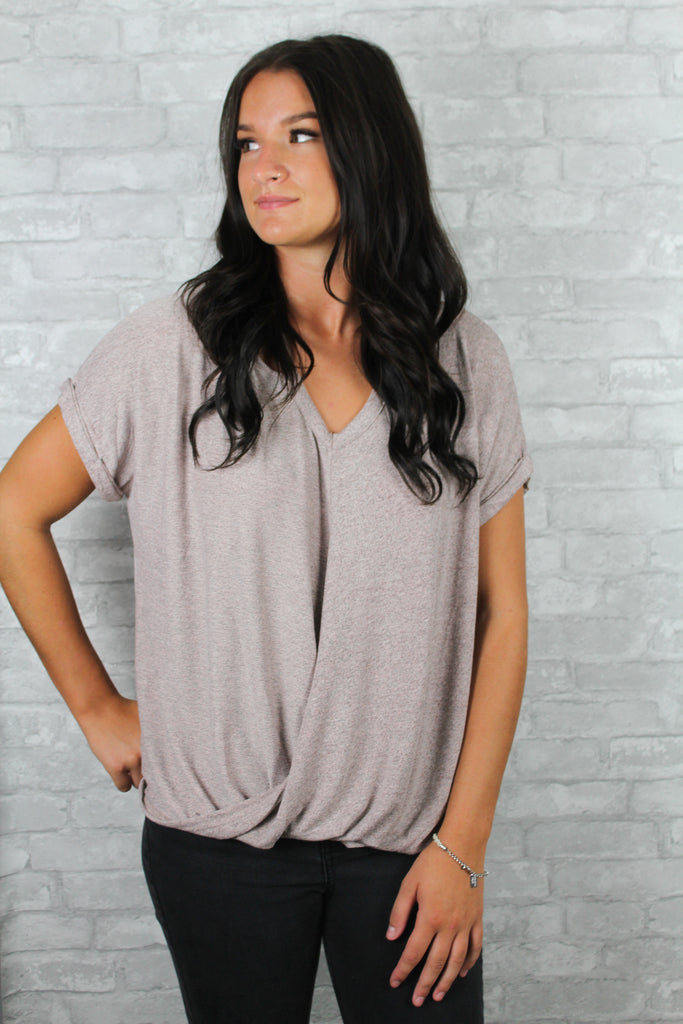Extra soft dusty pink top front.