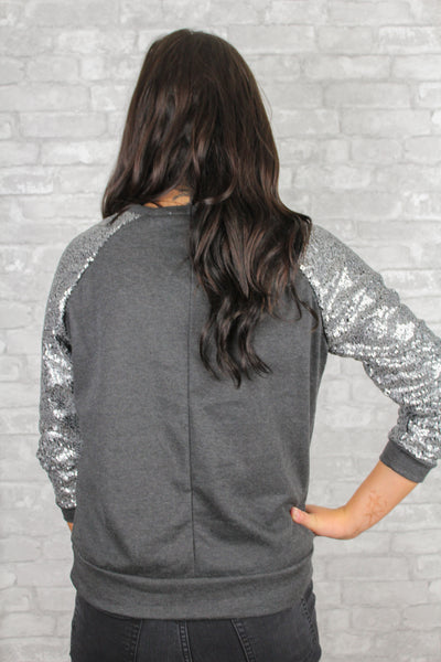 NYE Glitz Charcoal Gray Sequins Sweater