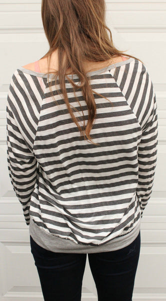 Gray and White Curvy Striped Top