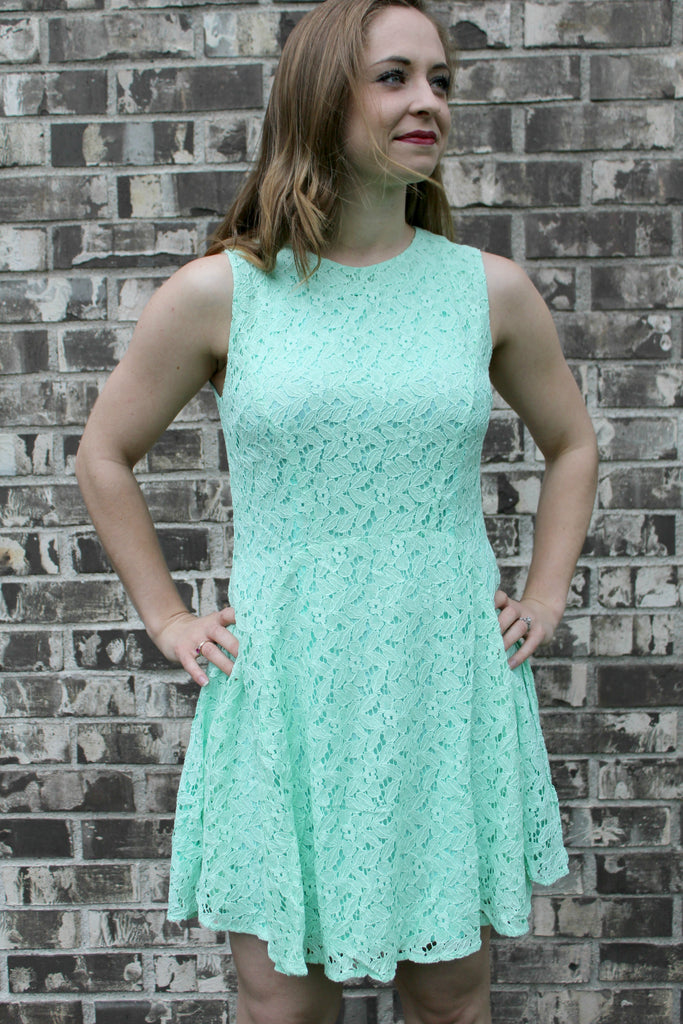 Mint and lace dress.