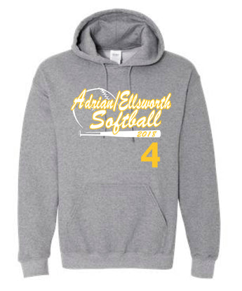 Adrian/Ellsworth Girls Softball PLAYERS Hooded Sweatshirt