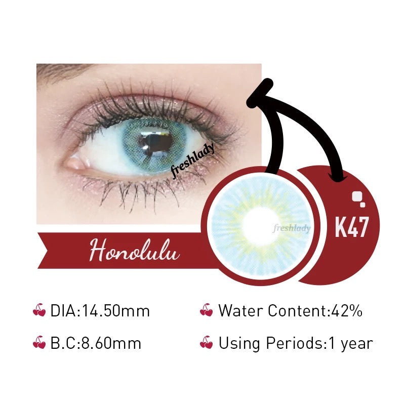 FRESHLADY HONOLULU COLORED CONTACT LENSES COSMETIC FREE SHIPPING - EyeQ Boutique