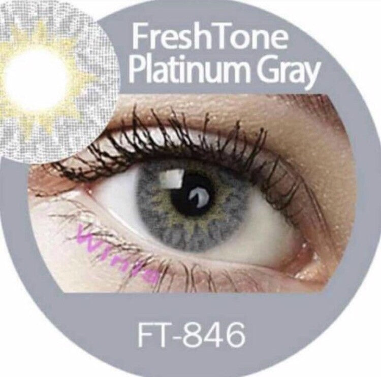 FRESHTONE PLATINUM GRAY (GREY) COSMETIC COLORED CONTACT LENSES FREE SHIPPING (HIDROCOR) - EyeQ Boutique