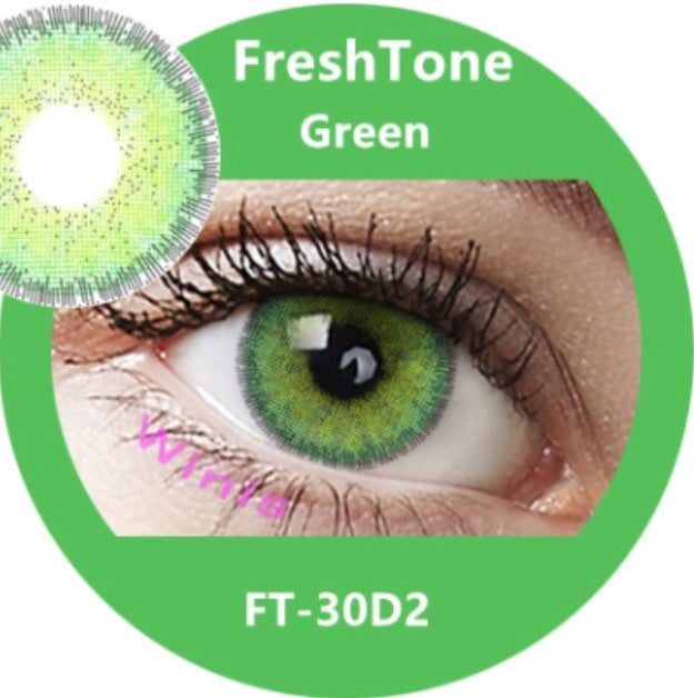 FRESHTONE DIVA GREEN COSMETIC COLORED CONTACT LENSES FREE SHIPPING - EyeQ Boutique