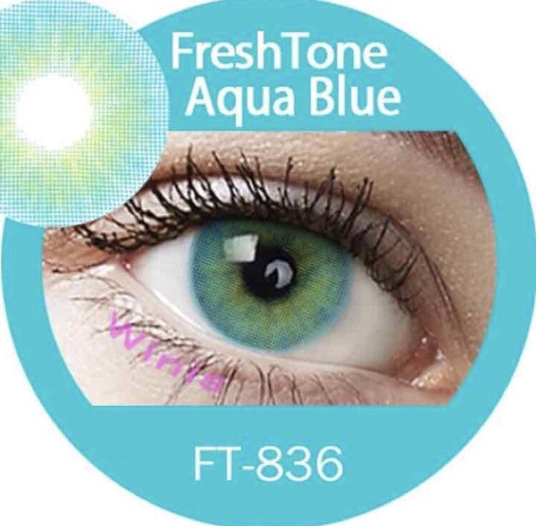 FRESHTONE SUPER NATURALS AQUA BLUE COSMETIC COLORED CONTACT LENSES FREE SHIPPING (HIDROCOR) - EyeQ Boutique