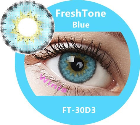 FRESHTONE DIVA BLUE COSMETIC COLORED CONTACT LENSES FREE SHIPPING - EyeQ Boutique