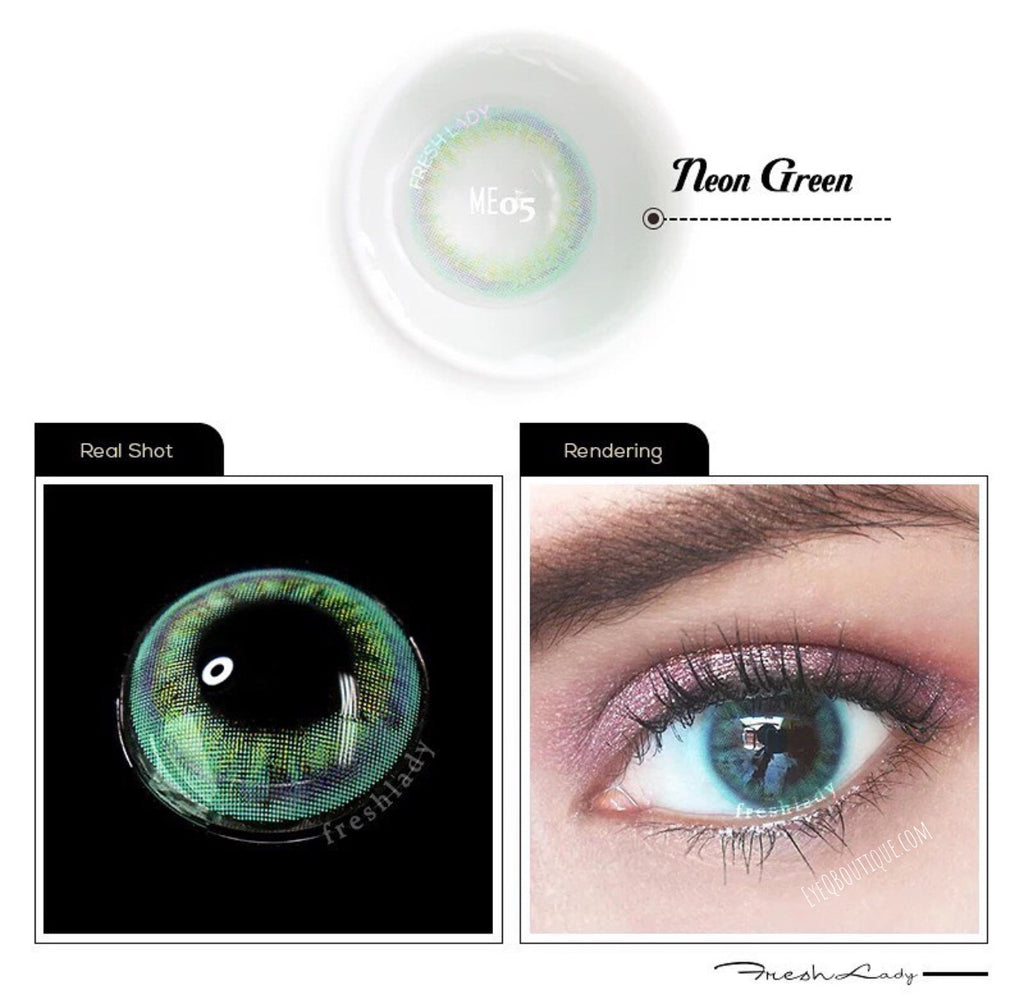 FRESHLADY NEON GREEN COLORED CONTACT LENSES COSMETIC FREE SHIPPING