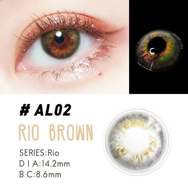 FRESHLADY RIO BROWN COLORED CONTACT LENSES COSMETIC FREE SHIPPING - EyeQ Boutique