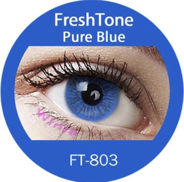 FRESHTONE PURE BLUE COSMETIC COLORED CONTACT LENSES FREE SHIPPING - EyeQ Boutique