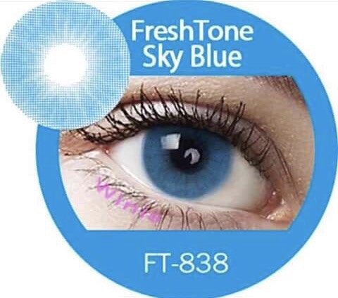 FRESHTONE SUPER NATURALS SKY BLUE COSMETIC COLORED CONTACT LENSES FREE SHIPPING (HIDROCOR) - EyeQ Boutique