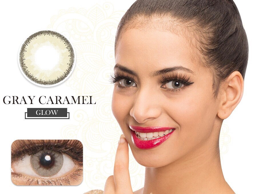 FRESHGO GRAY (GREY) CARAMEL COSMETIC COLORED CONTACT LENSES FREE SHIPPING - EyeQ Boutique