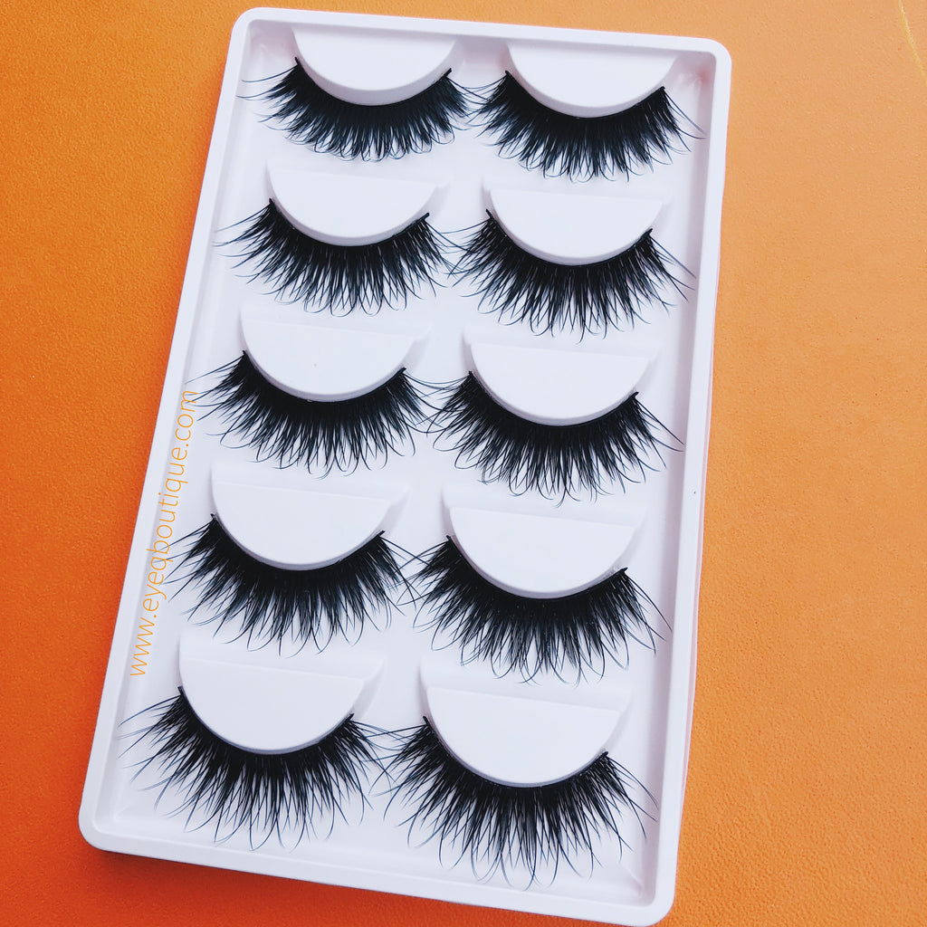 QUEEN 3D LONG WISPY VOLUME FALSE EYE LASHES 5 PAIRS (1 TRAY) FREE SHIPPING - EyeQ Boutique