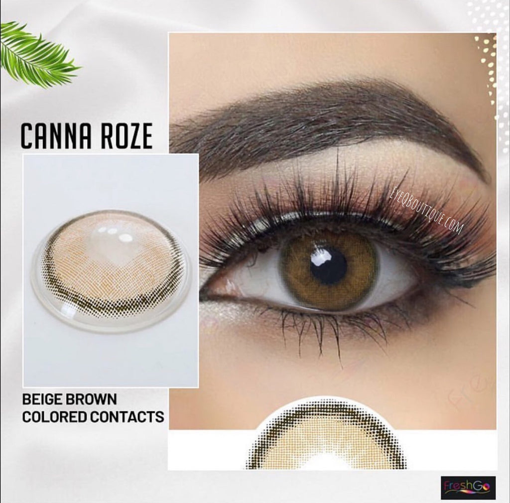 FRESHGO CANNA ROZE BEIGE BROWN COSMETIC COLORED CONTACT LENSES FREE SHIPPING - EyeQ Boutique