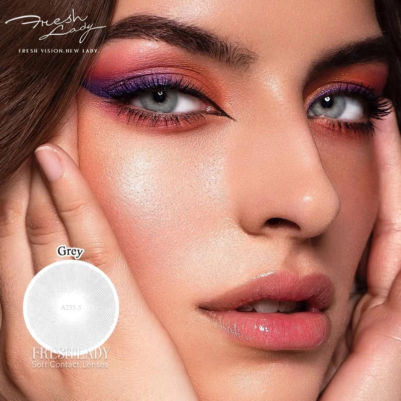 FRESHLADY POLAR LIGHTS GRAY (GREY) COLORED CONTACT LENSES COSMETIC FREE SHIPPING - EyeQ Boutique
