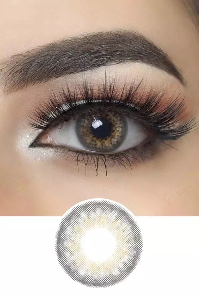 CIRCLE GRAY COLORED CONTACT LENSES COSMETIC FREE SHIPPING