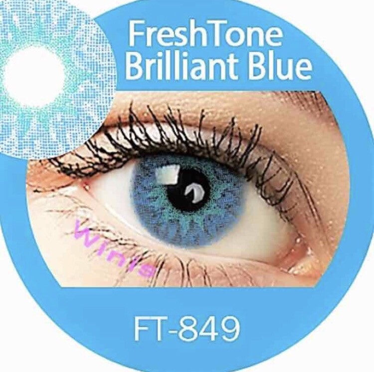 FRESHTONE BRILLIANT BLUE COSMETIC COLORED CONTACT LENSES FREE SHIPPING - EyeQ Boutique